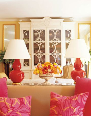 red and pink and yellow living room