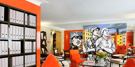 orange and black sitting room