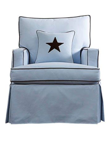 blue glider with star pillow