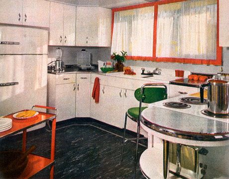 1950s house interior.  Retro Kitchen Decor 1950s Kitchens