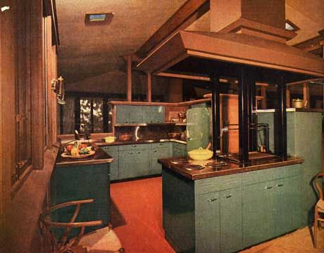 teal and dark colored kitchen