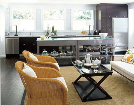 Combined family room kitchen design