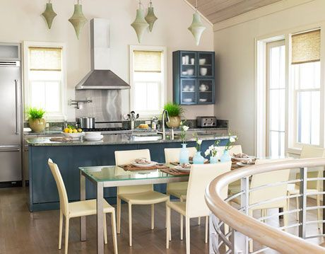 blue and white kitchen in florida designed by kim fouquet