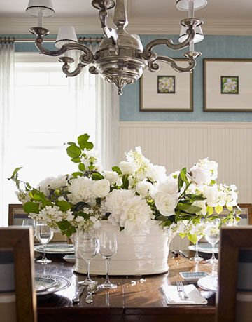 White Flower Arrangement On Dining Room Table
