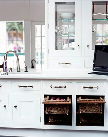 glass front and white cabinets