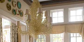 coral inspired chandelier in hilton head vacation home designed by jim howard
