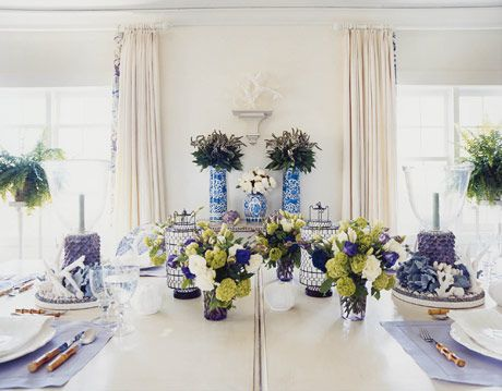 A traditional but colorful dining room table.