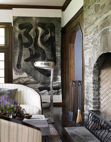 ink scroll painting in the living room by artist wenda gu