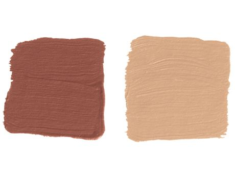 light red and peach paint swatches