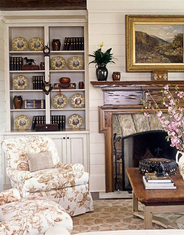 mantelpiece and chairs