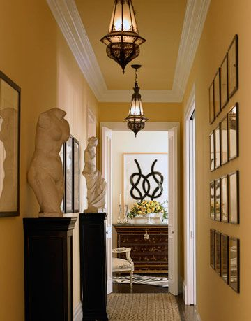 hallway with artwork