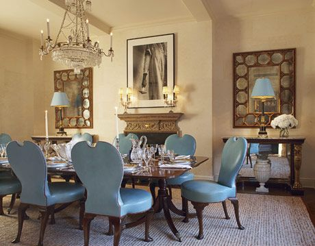 Dining Room With Blue Chairs
