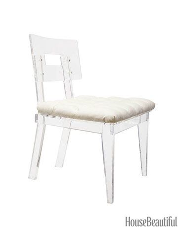 lucite chair with white cushion