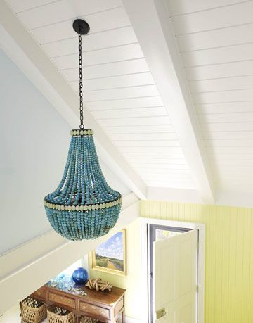 turquoise chandelier in entryway
