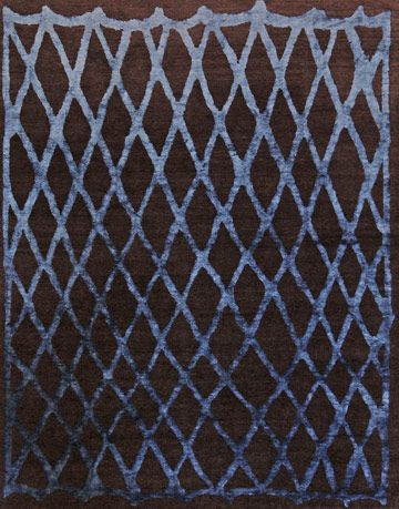 blue and brown diamond pattern rug