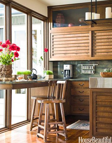 window with table and counter stools
