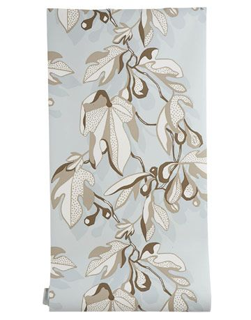 wallpaper with leaf print in blue