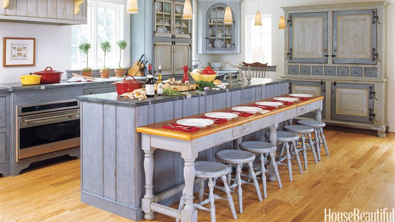 gray and blue kitchen