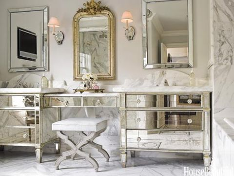 mirrored bathroom