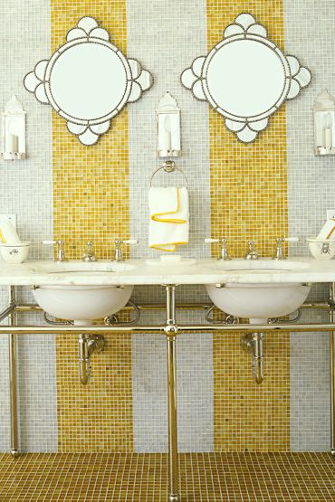 yellow and white tile bath