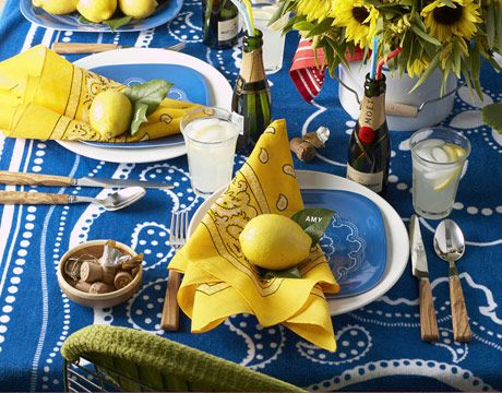 table setting with blue yellow and white accessories & Table Setting Blue and White - Target Accessories