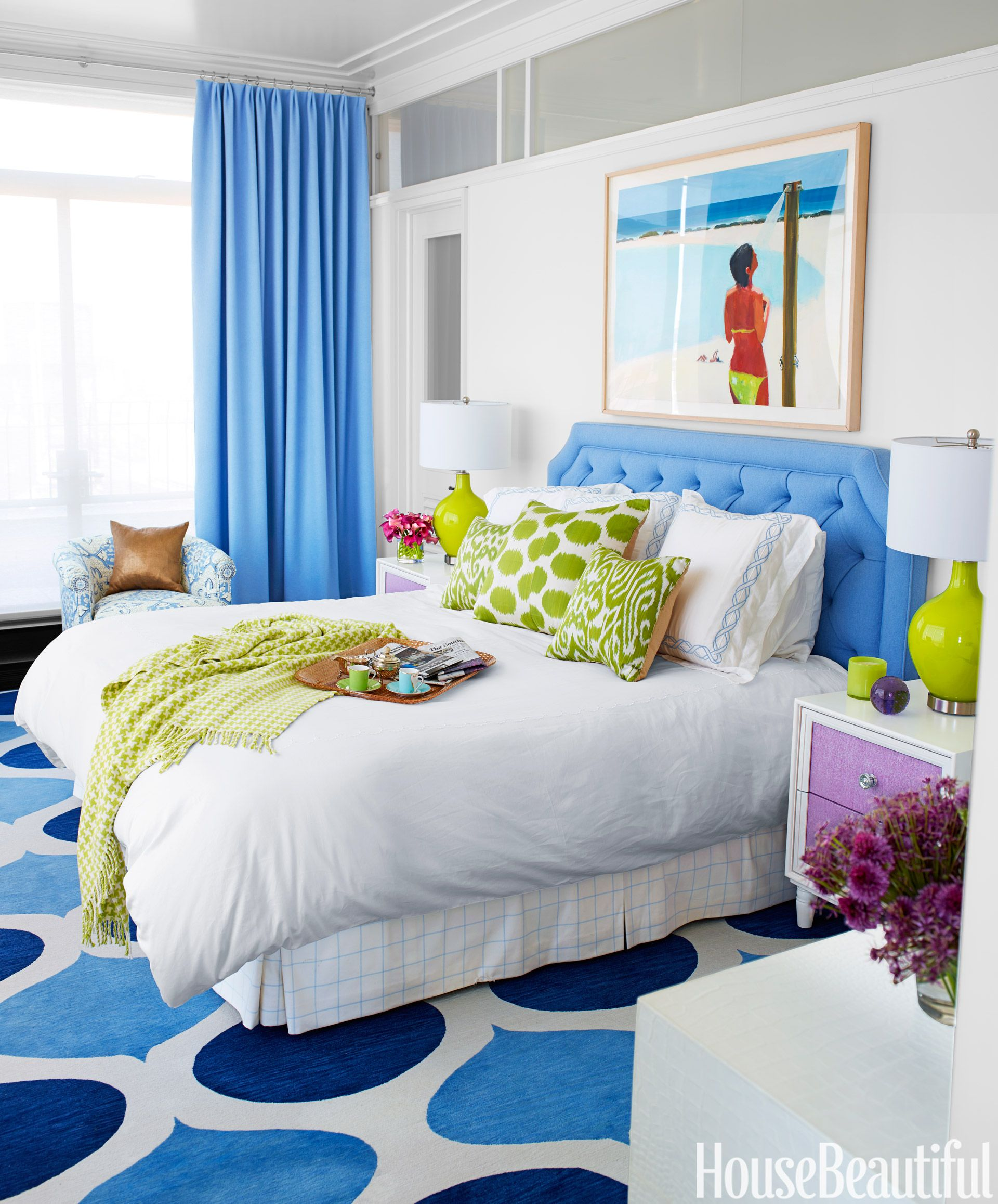 Blue And White Bedroom