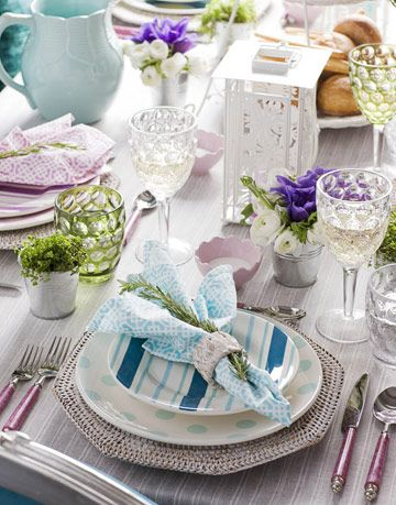 table setting with light colors and different patterns