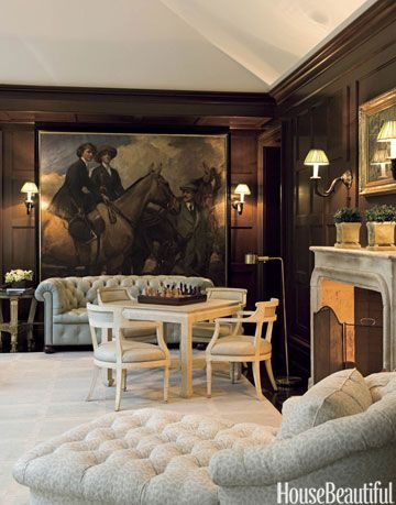 family room with equestrian painting