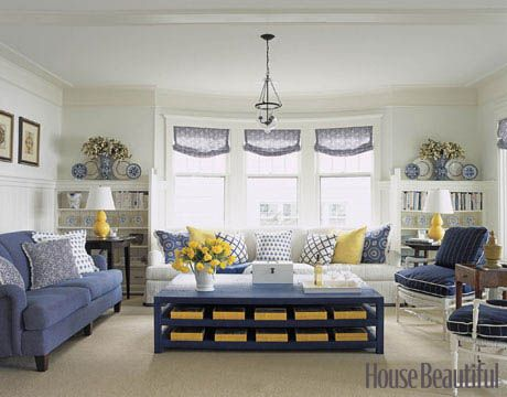 Ordinaire Blue White And Yellow Living Room