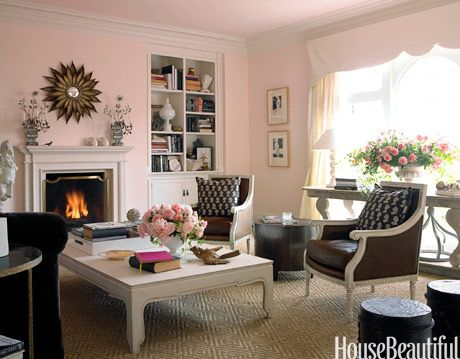 pink brown and white living room