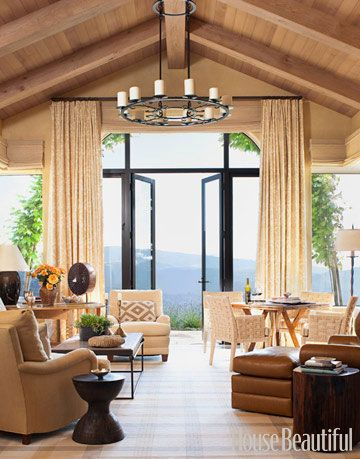 warm neutral living room with a view