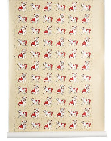red white and taupe dog print wallpaper