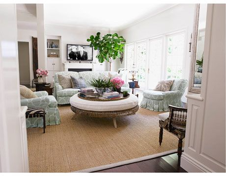 family room in neutrals and furniture in seafoam