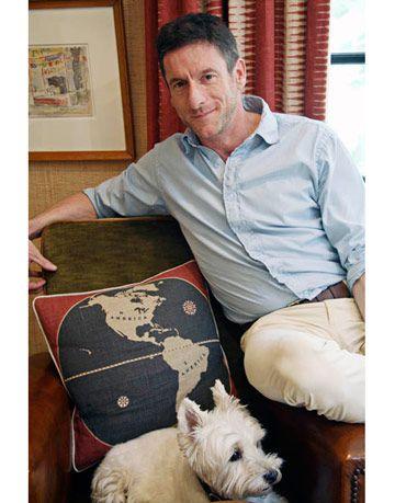 designer with map motif pillow
