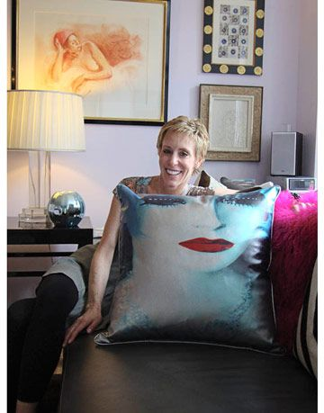 designer with photo transfer pillow