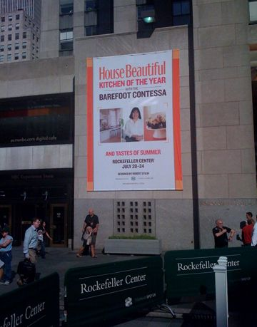 banner hanging in 30 rock for the kitchen of the year with ina garten