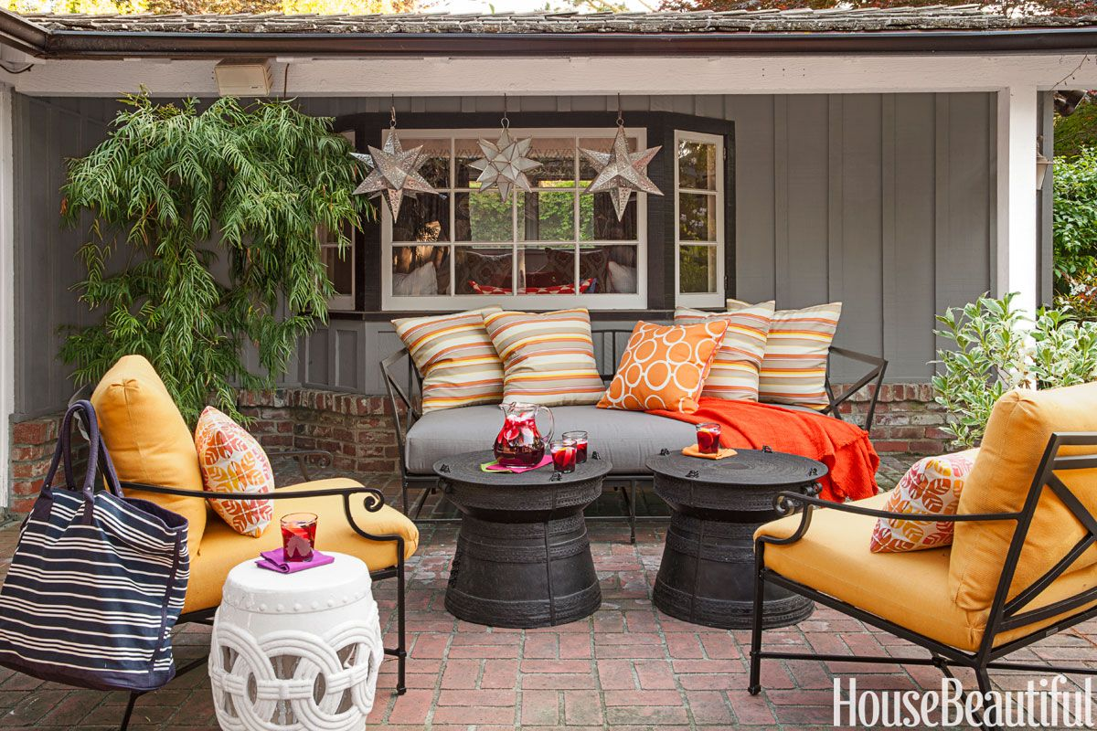 orange outdoor furniture & 17 Best Outdoor Fall Decor Ideas - Ways to Decorate Outside for Fall
