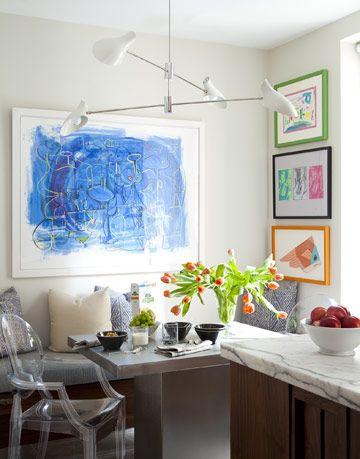 kitchen with childrens art