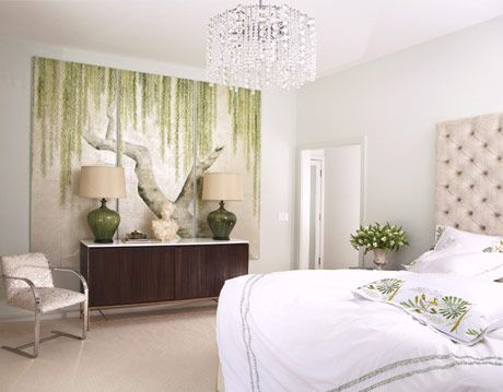 a white bedroom with chandelier