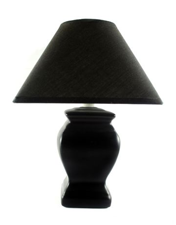 black lamp with black shade