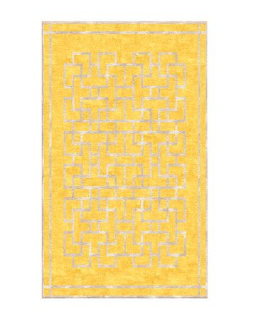 yellow rug with silver lining