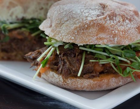 Braised Short Rib Sandwich With Horseradish Cream And Roasted Tomato Vinaigrette