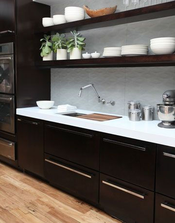 open shelves over kitchen sink