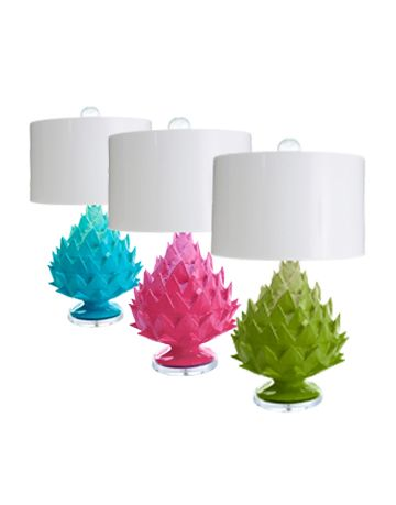 multi colored artichoke shaped lamps