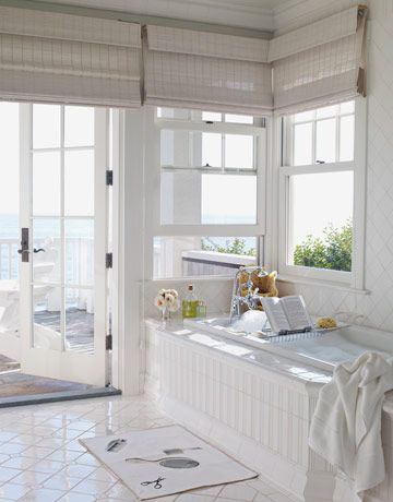 White Master Bathroom Looking Out To Ocean