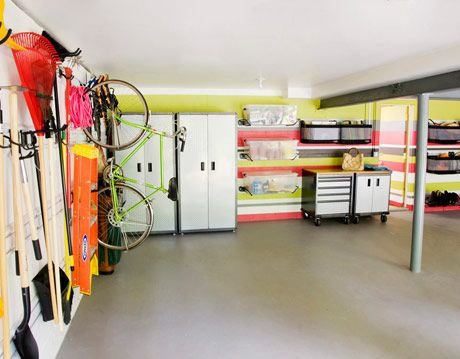 annie selke's striped garage makeover