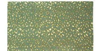 green animal print rug