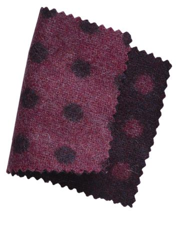 purple and black polka dot wool