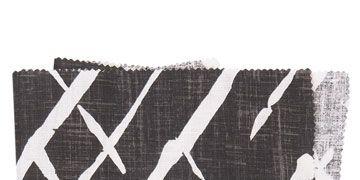 black and white fretwork trellis fabric