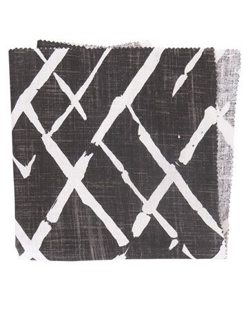 black and white fretwork trellis fabric